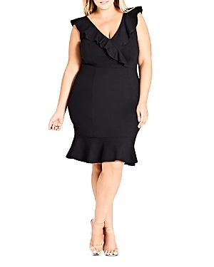 City Chic Plus Frill Seeker Ruffled Sheath Dress