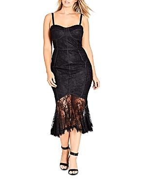 City Chic Plus So Seductive Lace-Overlay Mermaid Dress