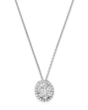 DIAMOND OVAL CLUSTER PENDANT NECKLACE IN 14K WHITE GOLD, 0.75 CT. T.W. - 100% EXCLUSIVE