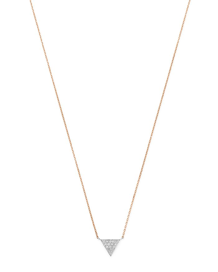 Moon & Meadow - Diamond Triangle Pendant Necklace in 14K White & Rose Gold, 0.04 ct. t.w. - 100% Exclusive