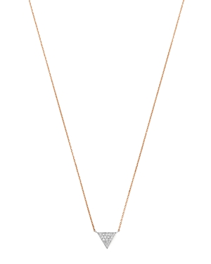 Moon & Meadow Diamond Triangle Pendant Necklace in 14K White & Rose Gold, 0.04 ct. t.w. - 100% Exclu