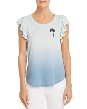 CHASER Palm-Print Ruffle-Sleeve Tee in Blue