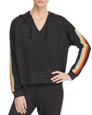 VINTAGE HAVANA Rainbow-Trim Hooded Sweatshirt in Gray