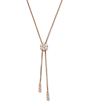 Bloomingdale's Diamond Flower Bolo Necklace in 14K Rose Gold, 0.85 ct. t.w. - 100% Exclusive