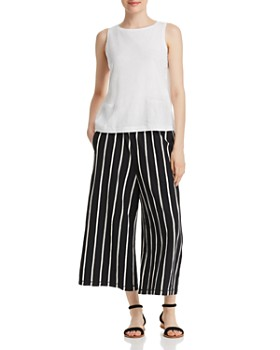 Eileen Fisher Petites - Organic-Linen Striped Cropped Pants