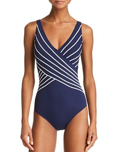 f797511a Ralph Lauren Laguna Solids Ruffle Surplice Tank One Piece Swimsuit ...