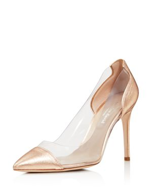 Women'S Genuine Leather Illusion Pointed Toe Pumps, Rose Gold Leather