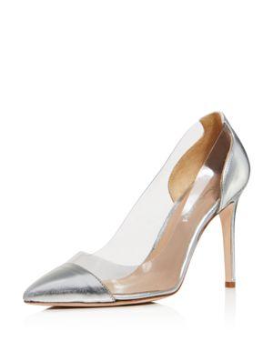 CHARLES DAVID Women'S Genuine Leather Illusion Pointed Toe Pumps in Silver