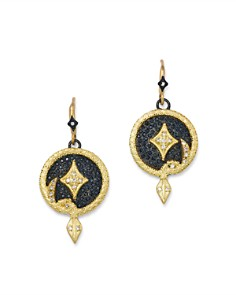 Armenta - 18K Yellow Gold & Blackened Sterling Silver Old World Champagne Diamond Serpent Disc Drop Earrings