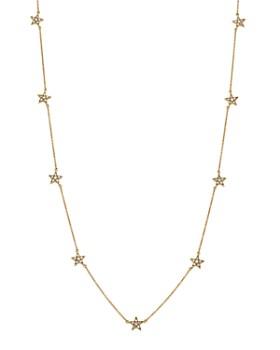 "SUEL - Blackened 18K Yellow Gold Diamond Star Station Necklace, 16.5"""