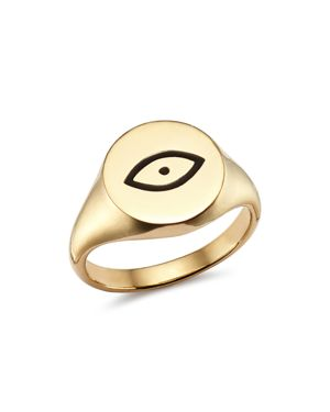 SUEL 14K YELLOW GOLD EVIL EYE PINKY SIGNET RING