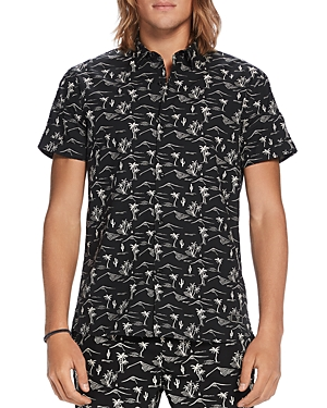 Scotch & Soda Palm Tree Print Regular Fit Button-Down Shirt