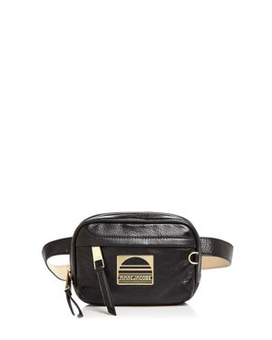Genuine Leather Sport Belt Bag, Black/Gold