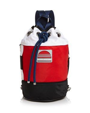 Nylon Sport Sling Bag - White, Porcelain Multi/Silver