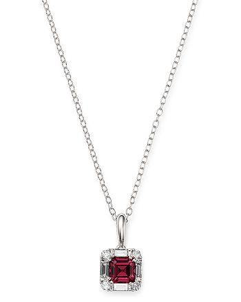 "Bloomingdale's - Rhodolite Garnet & Diamond Square Pendant Necklace in 14K White Gold, 17"" - 100% Exclusive"