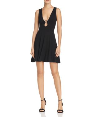 FORE HARDWARE DETAIL FIT-AND-FLARE DRESS