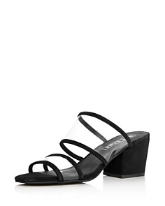 Sol Sana - Women's Ziggy Leather Illusion Block-Heel Slide Sandals