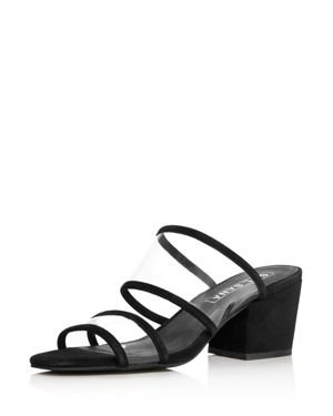 Sol Sana Women's Ziggy Leather Illusion Block-Heel Slide Sandals