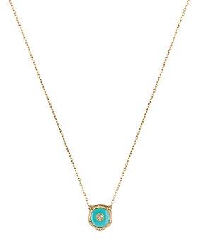 """Gucci - 18K Yellow Gold Le Marché des Merveilles Gemstone & Diamond Feline Head Pendant Necklace, 16"""""""