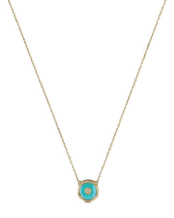 """Gucci - 18K Yellow Gold Le Marché Des Merveilles Turquoise & Diamond Feline Head Pendant Necklace, 16"""""""