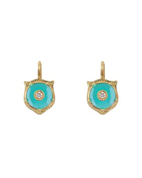 Gucci - 18K Yellow Gold Le Marché Des Merveilles Turquoise & Diamond Feline Drop Earrings