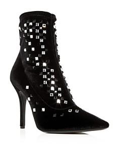 Giuseppe Zanotti - Women's Crystal Studded Velvet Pointed Toe Booties