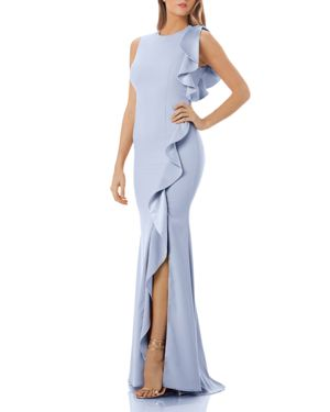 RUFFLED CREPE GOWN