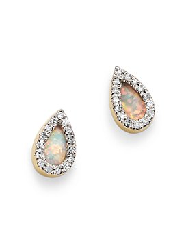 Adina Reyter - 14K Yellow Gold Opal & Diamond Teardrop Stud Earrings
