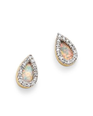 ADINA REYTER 14K YELLOW GOLD OPAL & DIAMOND TEARDROP STUD EARRINGS