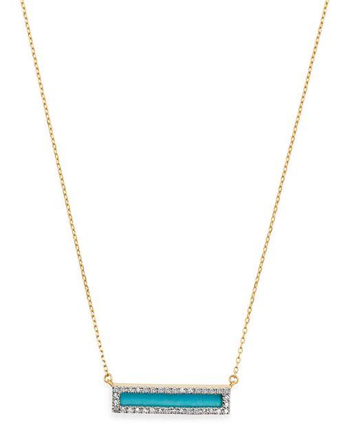 "Adina Reyter - 14K Yellow Gold Turquoise & Diamond Bar Pendant Necklace, 17"""