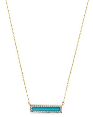 ADINA REYTER 14K YELLOW GOLD TURQUOISE & DIAMOND BAR PENDANT NECKLACE, 17