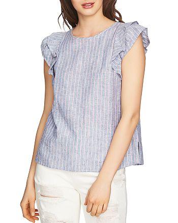 1.STATE - Ruffle Cap Sleeve Stripe Top