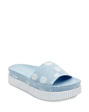 KENDALL AND KYLIE Kendall And Kylie Isla Dot-Distressed Denim Slide Sandals - 100% Exclusive in Light Denim
