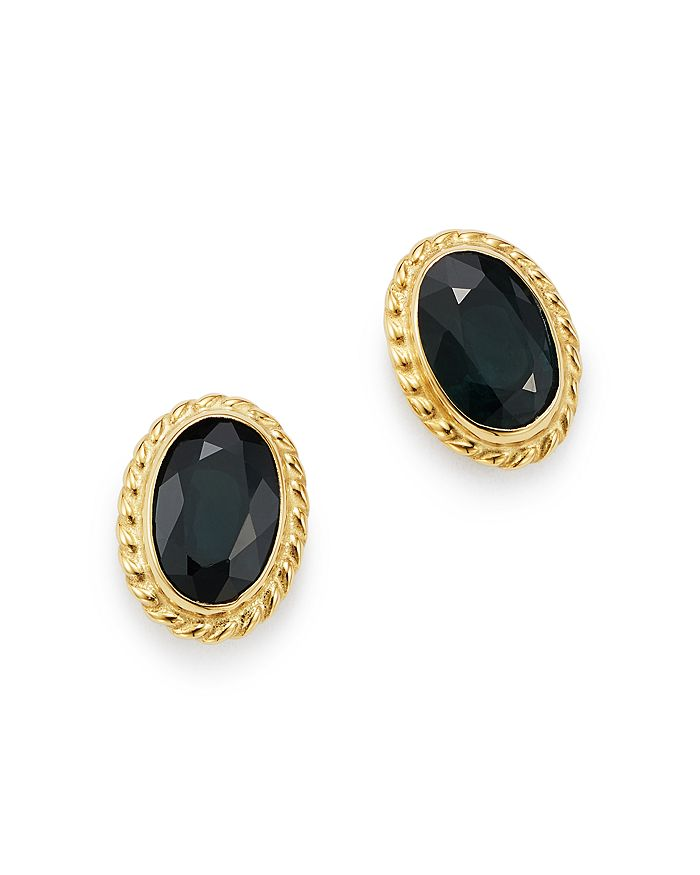 Bloomingdale's - Blue Sapphire Oval Stud Earrings in 14K Yellow Gold - 100% Exclusive