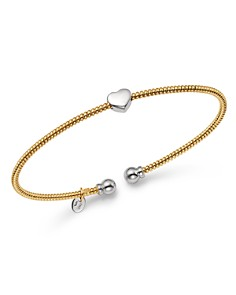 Bloomingdale's - Heart Station Open Bangle in 14K White & Yellow Gold - 100% Exclusive