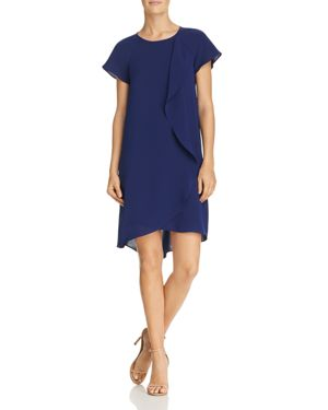 ADRIANNA PAPELL Crepe Ruffle Drape Shift Dress in Blue Sapphire