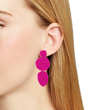 Rebecca Minkoff - Linear Beaded Disc Drop Earrings