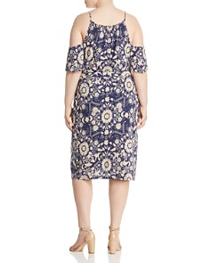 Lucky Brand Plus - Cold-Shoulder Floral-Print Dress