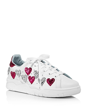 Chiara Ferragni Women's Leather & Glitter Hearts Low Top Lace Up Sneakers