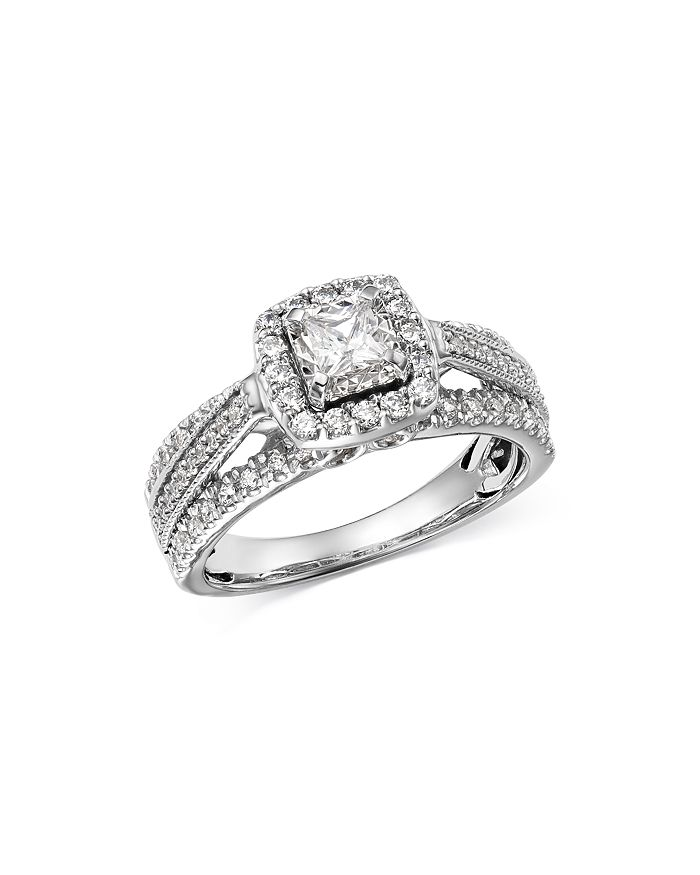 Bloomingdale S Princess Cut Diamond Raised Halo Engagement Ring