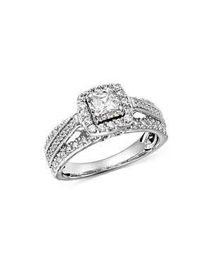 Bloomingdale's Princess-Cut Diamond & Raised Halo Engagement Ring in 14K White Gold, 1.0 ct. t.w. -