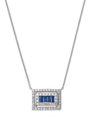 KC DESIGNS 14K WHITE GOLD MOSAIC SAPPHIRE BAGUETTE & DIAMOND FRAME PENDANT NECKLACE, 16