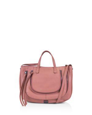 KOOBA Monteverde Leather Satchel in Guava Pink/Gunmetal