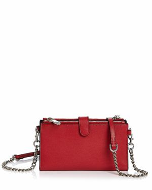 Bifold Leather Crossbody Wallet - Red, Scarlet/Silver