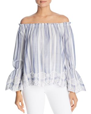 DESIGN HISTORY STRIPED EMBROIDERED OFF-THE-SHOULDER TOP
