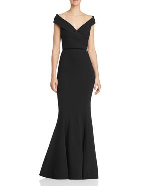 BARIANO Jewel 2-Piece Off-The-Shoulder Crepe Gown in Black