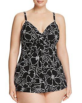 Miraclesuit Plus - Plus Savannah Roswell Tankini Top & Solid Basic Bikini Bottom