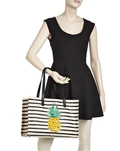 kate spade new york - By The Pool Pineapple Mega Sam Embellished Canvas Tote