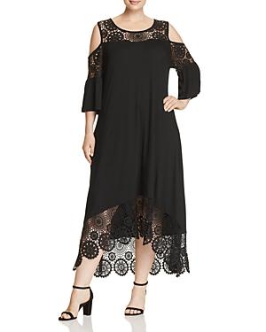 Cupio Plus Cold-Shoulder Crochet Panel Dress