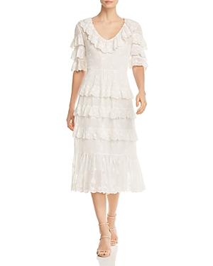 Rebecca Taylor Dree Ruffled Eyelet Crepe Midi Dress